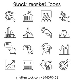 Stock market , Stock Exchange, Stock money icon set in thin line style