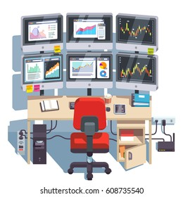 Stock market exchange trader desk with six displays for monitoring & forecasting financial indexes data online. Diagrams and trading candlestick charts analysis. Flat style modern vector illustration.