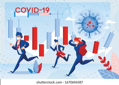 Stock Market Failure from Coronavirus Attack. World Investment Price Fall Down from Wuhan Virus Fear. Frustrated Shocked Businesspeople Run in Panic under Candle Trading Chart. Covid19 Text on Syringe