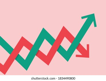 Stock market fluctuation arrow. Graph up and Graph down concept. Vector illustration
