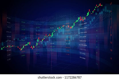 Stock market or forex trading candlestick graph in graphic design for financial investment concept
