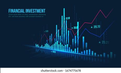 Graphique de la Bourse ou du Forex trading dans un concept graphique adapté à l'investissement financier ou les tendances économiques l'idée d'entreprise et tous les dessins d'art. Arrière-plan financier abstrait. Illustration vectorielle