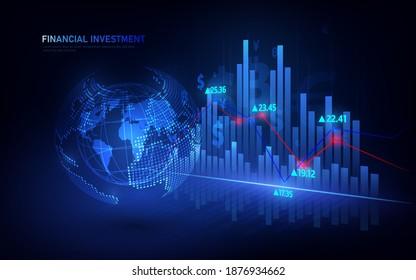 Graphique de la Bourse ou du Forex trading dans un concept graphique adapté à l'investissement financier ou les tendances économiques l'idée d'entreprise et tous les dessins d'art.