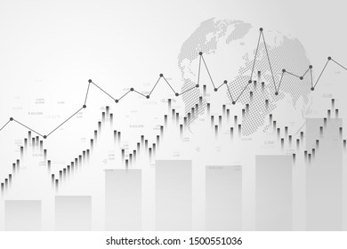 Stock market graph or forex trading chart for business and financial concepts, reports and investment.Japanese candles.Abstract vector background