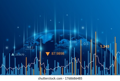Stock market graph or forex trading chart for business and financial concepts, reports and investment on dark background