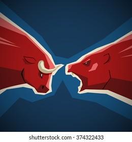 Stock market illustration - bull and bear opposition concept on deep blue background