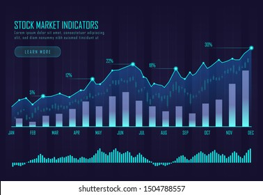 stock market indicators graphic concept suitable for stock market, forex, financial investment or Economic webpage, banner, presentation, Vector illustration