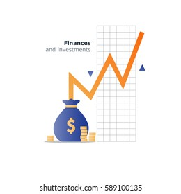 Stock market investment, financial management, budget planning icon, money saving concept, income growth, vector illustration