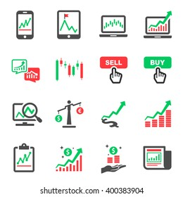 Stock Market Investment Online Vector Icon Set