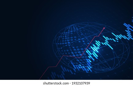 Stock market investment trading graph in graphic concept suitable for financial investment or Economic trends with world business idea. Vector illustration design.