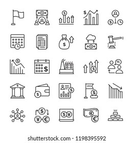 Stock Market Line Icons Set