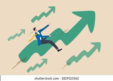 Le prix des actions augmente en flèche sur le marché haussier, en croissance positive ou en ambition pour le concept d'investisseur gagnant, confiance en homme d'affaires qui monte rapidement en flèche vers le haut.