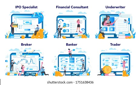 Stock market profession set. Web site platform. Idea of finance investment and financial growth. Ipo specialist, financial consultant, underwriter, broker, banker, trader. Vector illustration