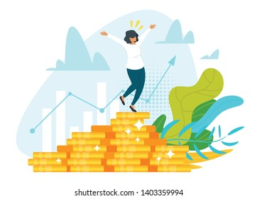 Stock market profit, income flat vector illustration. Happy broker, trader, banker, financier cartoon character. Successful woman standing on coins stack. Business analytics, statistics. Graph growth