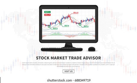 Stock market trade advisor vector illustration. Software to define points to sell or buy creative concept. Forex application gives signals to buy and sell graphic design.