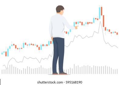 Stock market trader analyzing diagrams. Isolated vector illustration