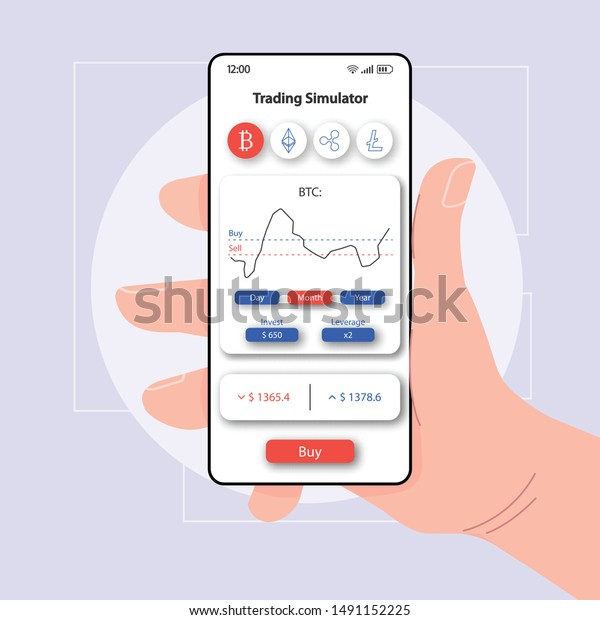 Stock Market Trading Simulator Smartphone Interface Stock Vector Royalty Free 1491152225