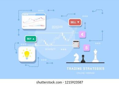 Stock market trading strategies banner design fo online webinar or online post. Stock market analysis and investment. Flat style illustration.