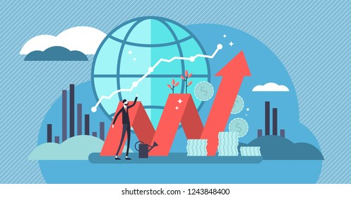Stock market vector illustration. Flat mini money growth persons concept with positive and successful indicators. Global investment business value improvement. Finance and economy profit with coins.