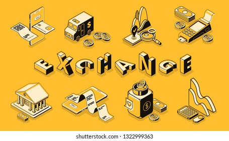 Stock and money exchange line art, isometric vector banner. Digital payments and mobile banking technologies, online shopping, financial institution, business infographics illustrations collection