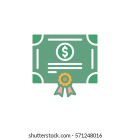 Stock share certificate icon vector, filled flat sign, solid colorful pictogram isolated on white. Bonds, securities symbol, logo illustration