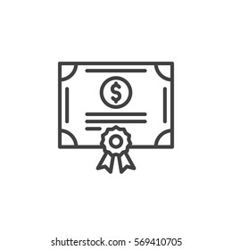 Stock share certificate line icon, outline vector sign, linear pictogram isolated on white. Bonds, securities symbol, logo illustration