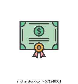 Stock share certificate line icon, filled outline vector sign, linear colorful pictogram isolated on white. Bonds, securities symbol, logo illustration