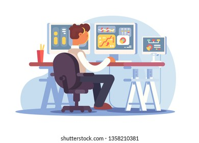 Stock trader sitting at workplace vector illustration. Young man looking at charts diagrams graphs indexes and numbers on multiple computer screens in traders office