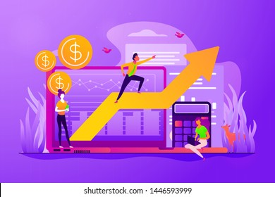Stock trading, income growth. ROI, investment increasing. Business profits calculation. Demand planning, demand analytics, digital sales forecast concept. Vector isolated concept creative illustration