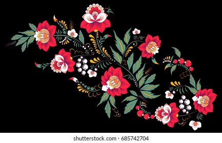 stock vector abstract hand draw flower and wave, doodle bouquet. oriental or arabic, russia art background. template for card. banner
