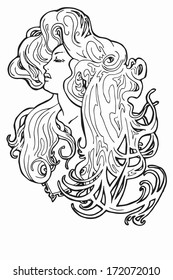 Stock vector art nouveau retro vintage woman with long hair