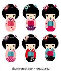 Stock vector beautiful kokeshi doll with kimono