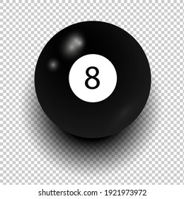 Stock vector of billiard ball number 8. Black color. Isolated wind object on transparent background