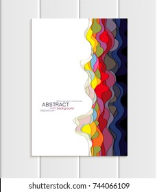 Stock vector brochure A4 or A5 format in abstract style. Design business templates with round, uneven multicolored shapes white background for printed materials, design element, card, cover, wallpaper