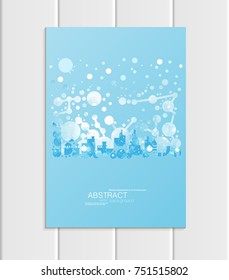 Stock vector brochure A5 or A4 format design Christmas template, abstract circles, winter landscape New Year 2018 with urban city silhouette glow full moon night background for printed material