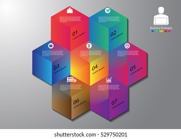 Stock vector business info graphics seven option template colorful transparent