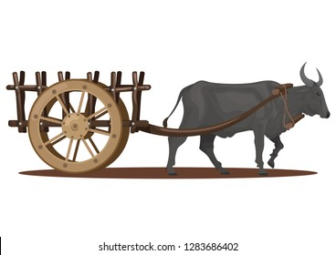 stock vector a carabao pull a wooden cart graphic object illustration