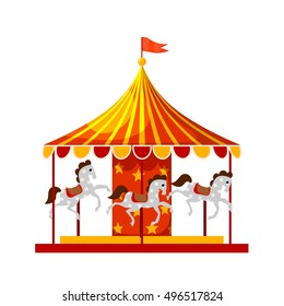 Stock Vector Cartoon children's fun colorful carousel with horses. Children playing a traditional carousel isolate on a white background.