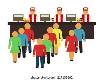 Stock vector cartoon flat fast food design icon set