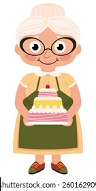 Stock Vector cartoon illustration of a grandmother baked a cake/Grandmother baked a cake/Stock Vector cartoon illustration