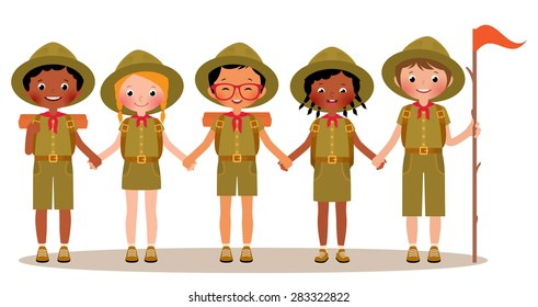 Stock Vector cartoon illustration of a group of scouts children boys and girls in summer children camp/Group of children boys and girls scouts in the uniform/Stock vector cartoon illustration