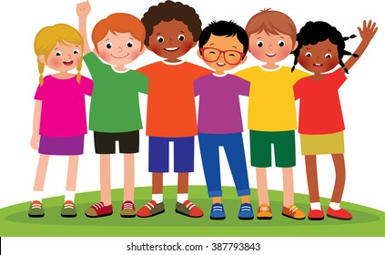 Stock Vector cartoon illustration of a group of children friends on a white background