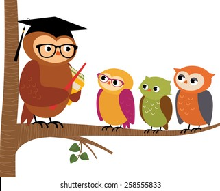 Stock Vector cartoon illustration Owl teacher and his students/Owl teacher and his students/Stock Vector cartoon illustration