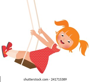 Stock Vector cartoon illustration of a redhead girl on a swing/Redhead girl on a swing/Stock Vector cartoon illustration in EPS 8