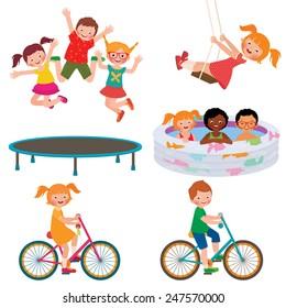 Stock Vector cartoon illustration of summer children activities/Summer children activities/Stock Vector cartoon illustration