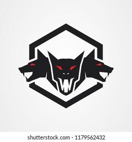 Stock vector cerberus heads logo
