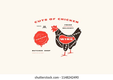Stock vector chicken cuts diagram in flat style. Color print on white background