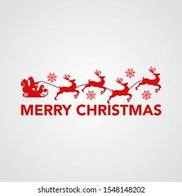 stock vector christmas logo with santa and reindeer carriage. greeting card, christmas sign,symbol and logo.