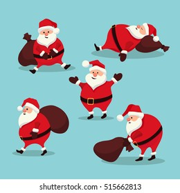 bf2760e8735dd Stock Vector Christmas set Santa Claus New Year. Santa in different  positions in flat cartoon