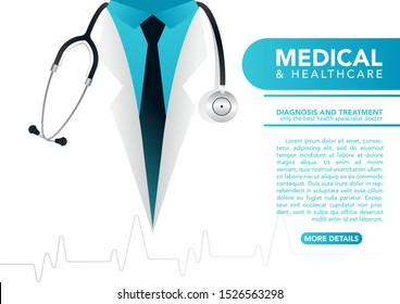 stock vector close up doctor in lab coat with stethoscope. medical and health care concept. vector illustration background.